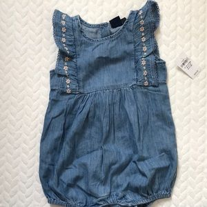 Baby gap chambray embroidered bubble romper